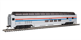 Bachmann 13004 HO Scale Budd 85' Full-Length Dome with Lights - Ready to Run - Silver Series(R) -- Amtrak 10031 Ocean View (Phase III, silver, blue, white, red)