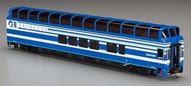 """Bachmann 13345 HO Scale Colorado Railcar 89' Full-Dome - Ready to Run - Silver Series(R) -- Denali Princess """"Sanford"""" A Car (Blue, white)"""