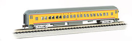 Bachmann 13755 N Scale 72' Heavyweight Coach w/Lights - Ready to Run -- Union Pacific (Armour Yellow, gray, red)