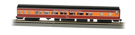 Bachmann 14207 HO Scale 85' Smooth-Side Coach w/Lights - Ready to Run -- Southern Pacific (Daylight Black, orange, red)