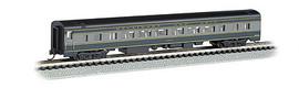 Bachmann 14253 N Scale 85' Smooth-Side Coach w/Lighting - Ready to Run -- Baltimore & Ohio (blue, gray, black)