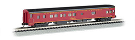 Bachmann 14352 N Scale 85' Smooth-Side Boat-Tail Observation w/Lighting - Ready to Run -- Norfolk & Western (maroon, black)
