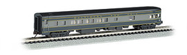 Bachmann 14353 N Scale 85' Smooth-Side Boat-Tail Observation w/Lighting - Ready to Run -- Baltimore & Ohio (blue, gray, black)