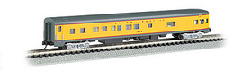 Bachmann 14354 N Scale 85' Smooth-Side Boat-Tail Observation w/Lighting - Ready to Run -- Union Pacific (Armour Yellow, gray, red)