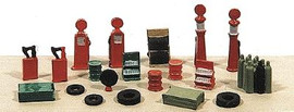 Railway Express Miniatures 2181 N Scale Kit Deluxe Gas Station Detail Set -- 20 Pieces
