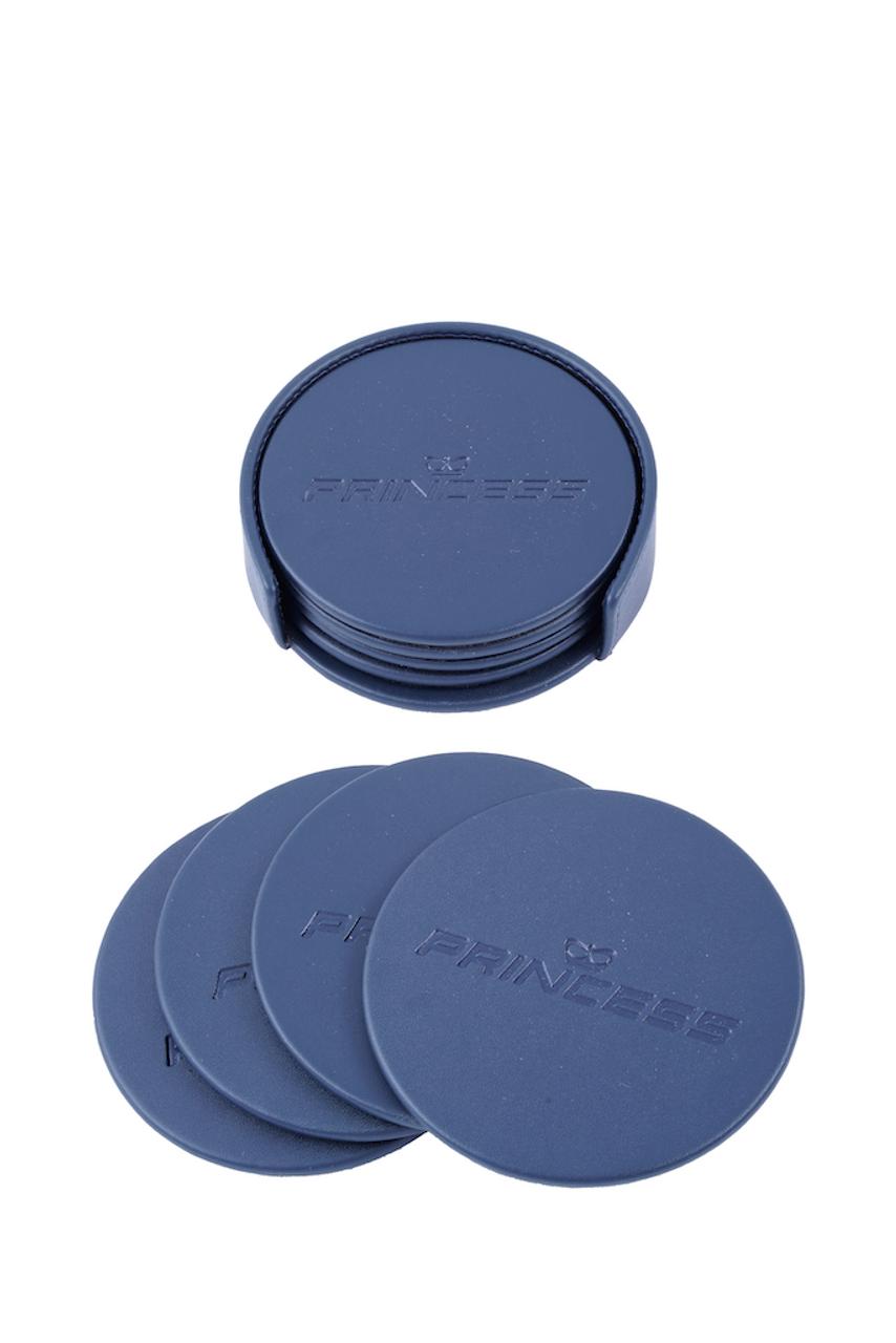 Leather Round Coaster Set with Holder (Navy Blue)