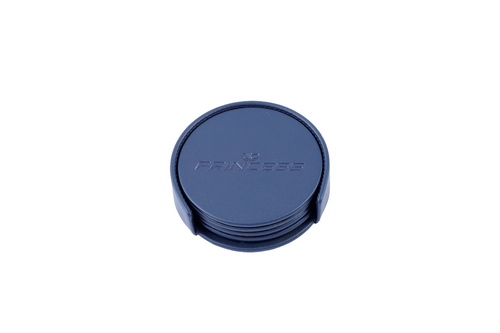 Leather Round Coaster Set with Holder (Navy Blue)