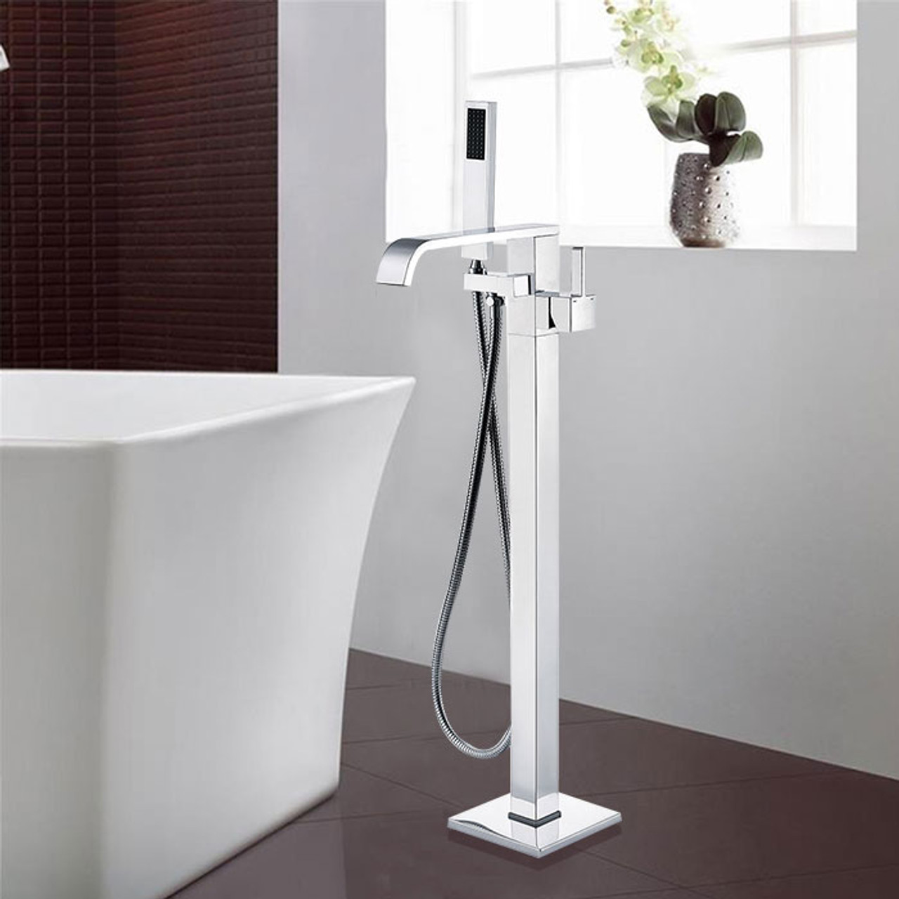 Picture of: Royal Fall Freestanding Tub Filler Faucet Chrome York Taps