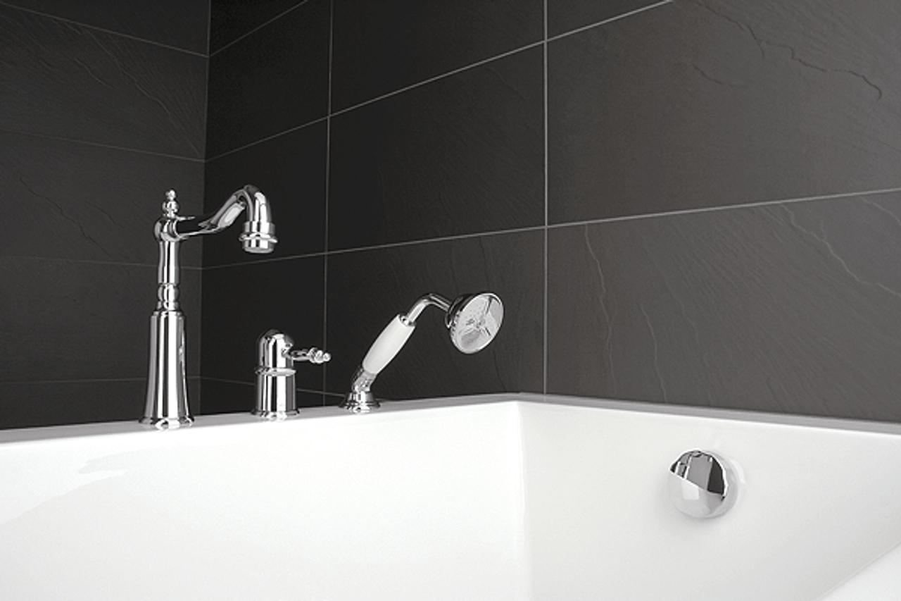 Rubi Saida 3 Hole Deck Mounted Bath Faucet With Handheld Shower