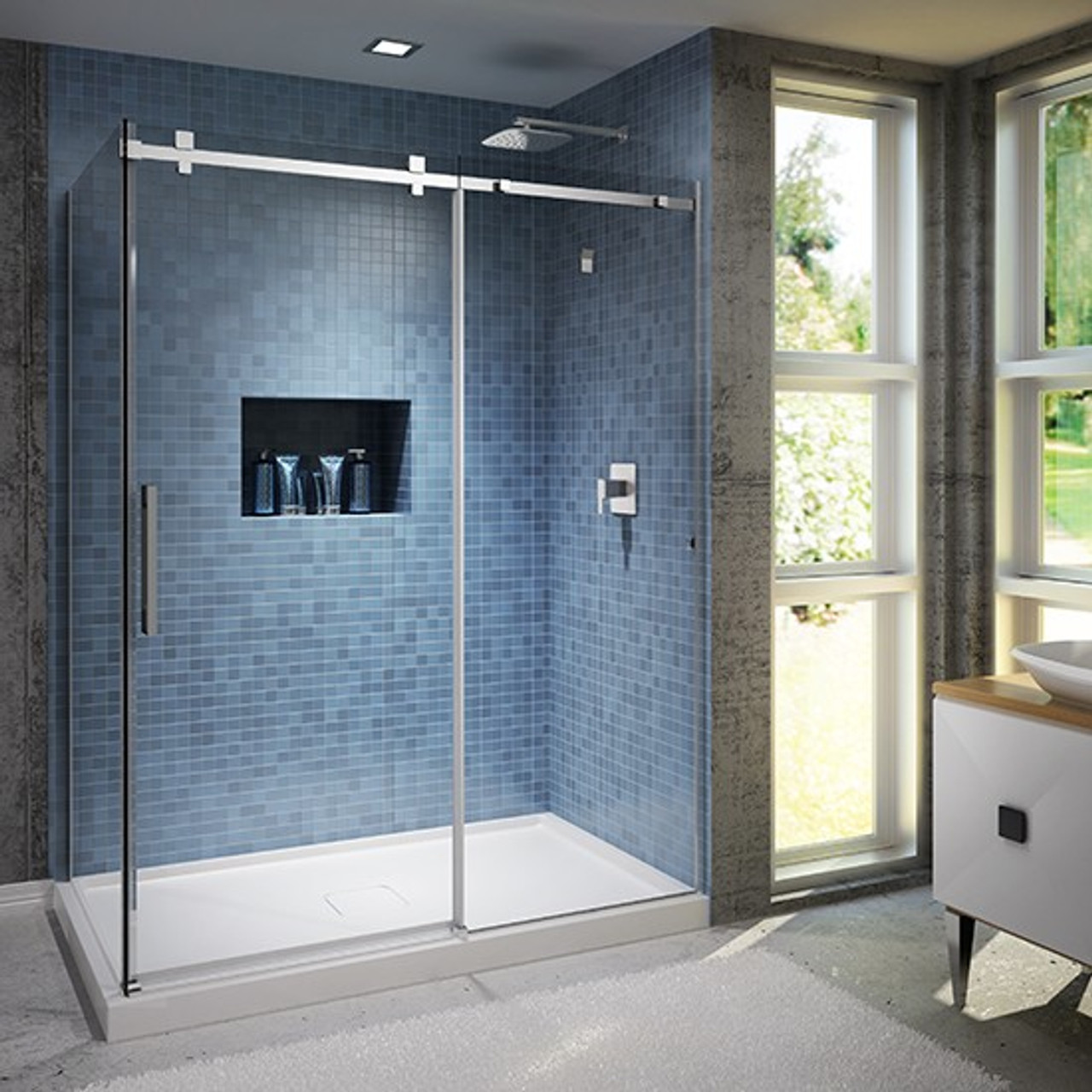 Kalia Rollax Square Sliding Doors Shower Enclosure 60x 32x 77