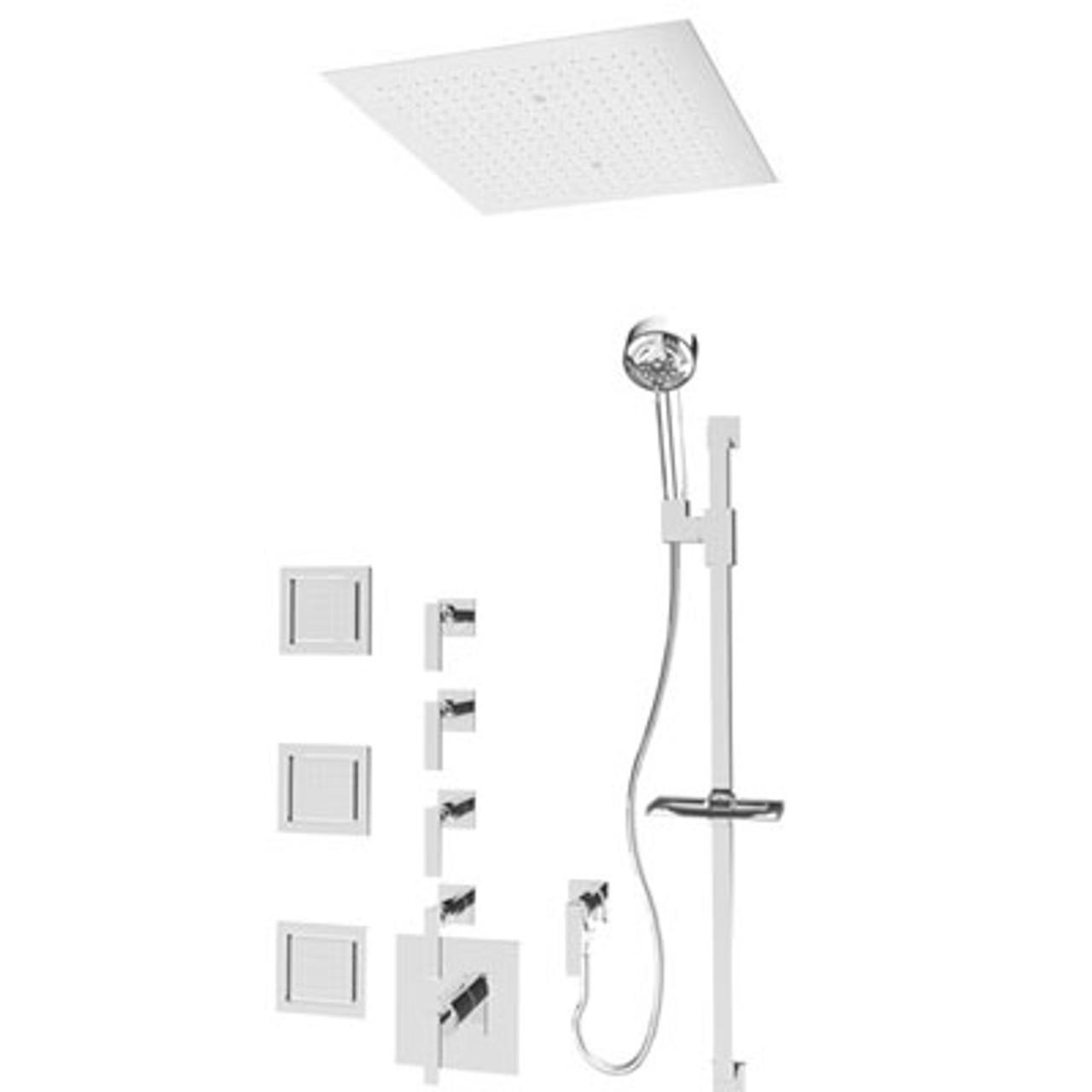 Rubi Kali 3 4 Thermostatic Shower With Body Jets 18 X 18 Flush Rain Head Brushed Nickel