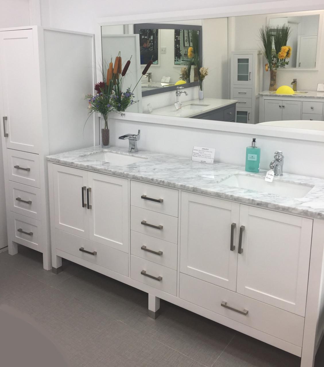 Armada 90 Bathroom Vanity Side Cabinet Tower White York Taps