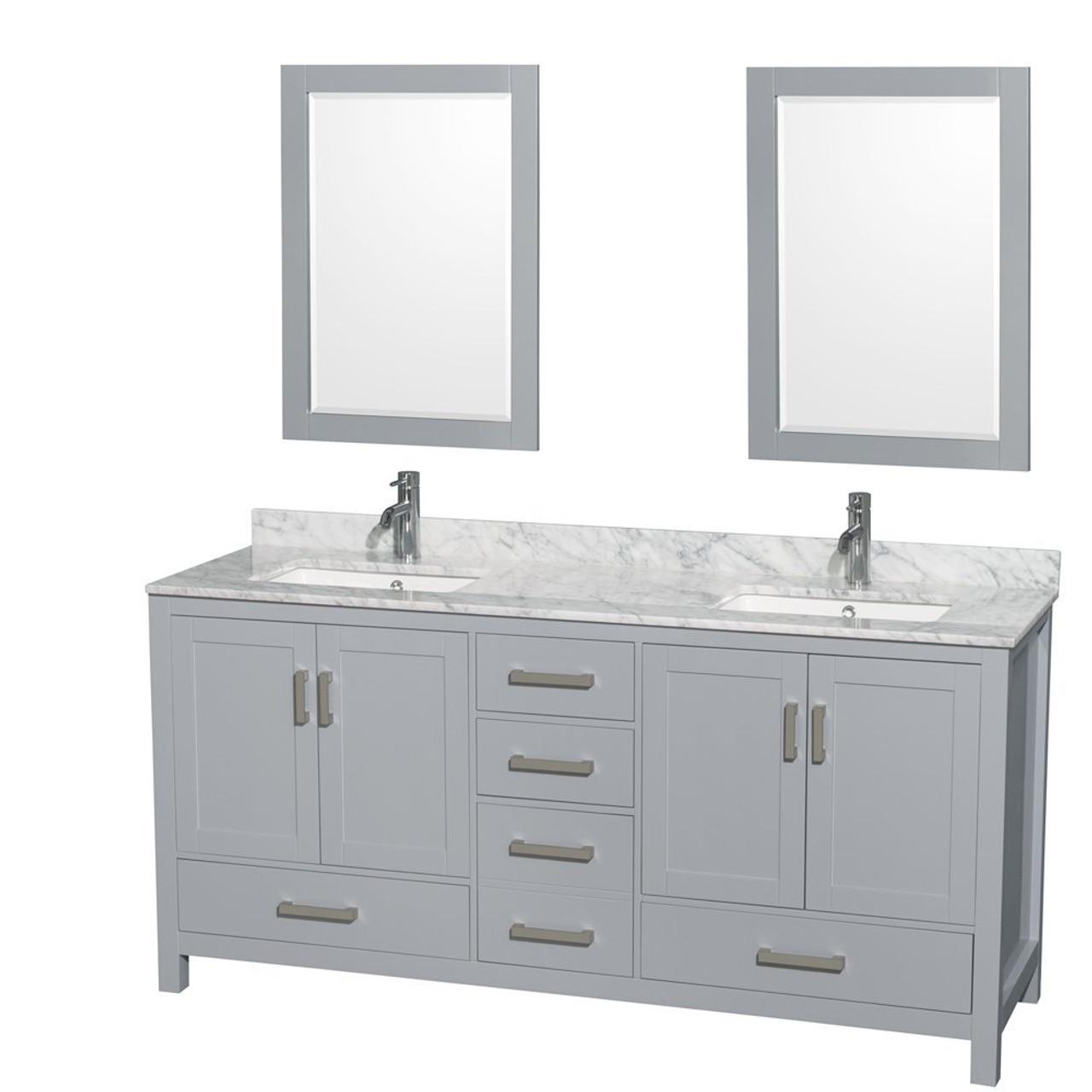 Armada 72 Double Sink Bathroom Vanity Light Grey York Taps