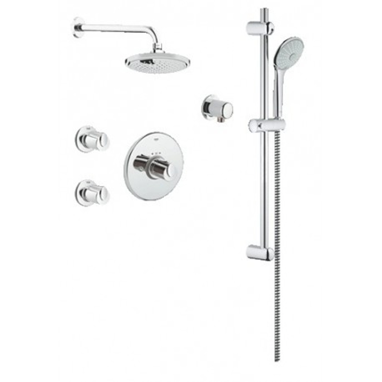 Grohe 117169 Basic Thm Dual Function Shower Kit With Valve