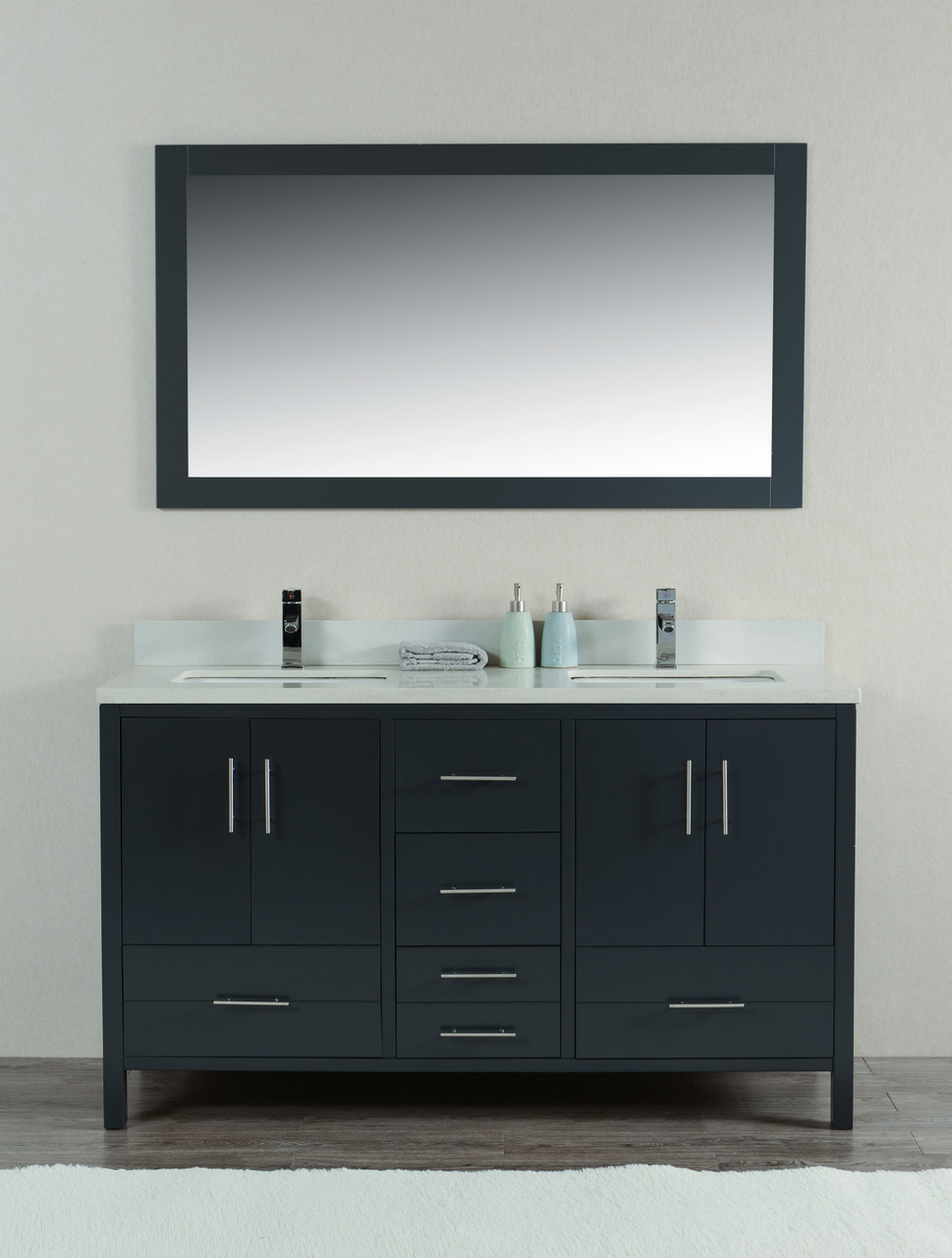 Mackenzie 60 Bathroom Double Sink Vanity Satin Grey York Taps