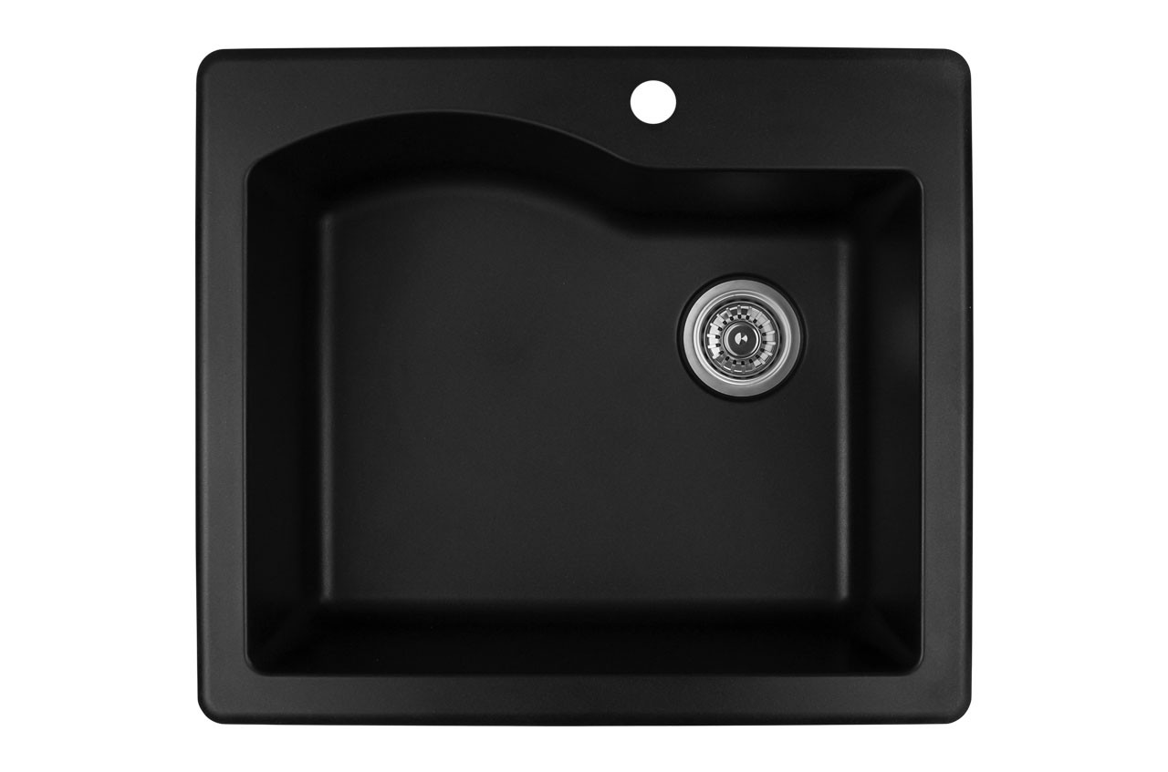 Karran single bowl top mount kitchen sink black finish 25 x 22 york taps