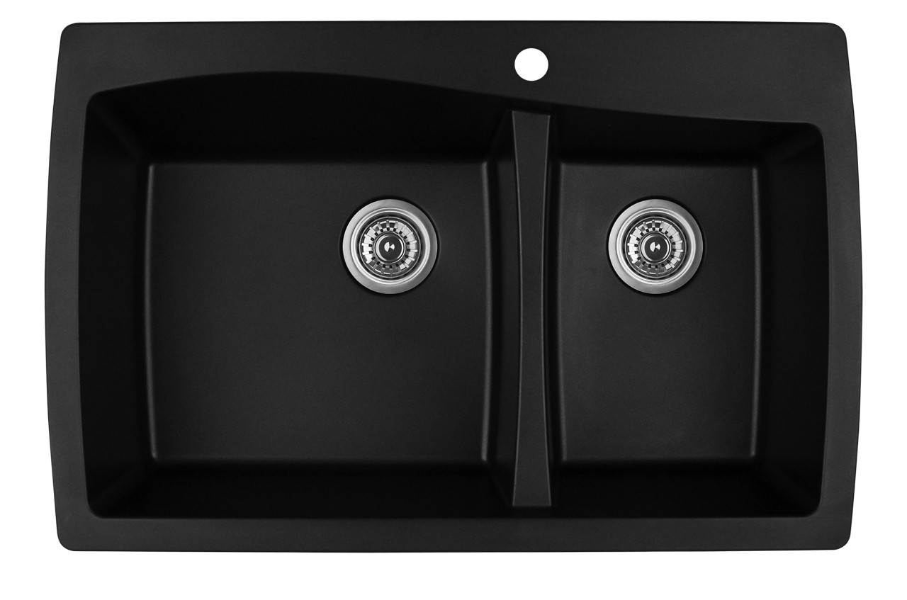 Karran Double Bowl Top Mount Kitchen Sink Black Finish 34 X 22