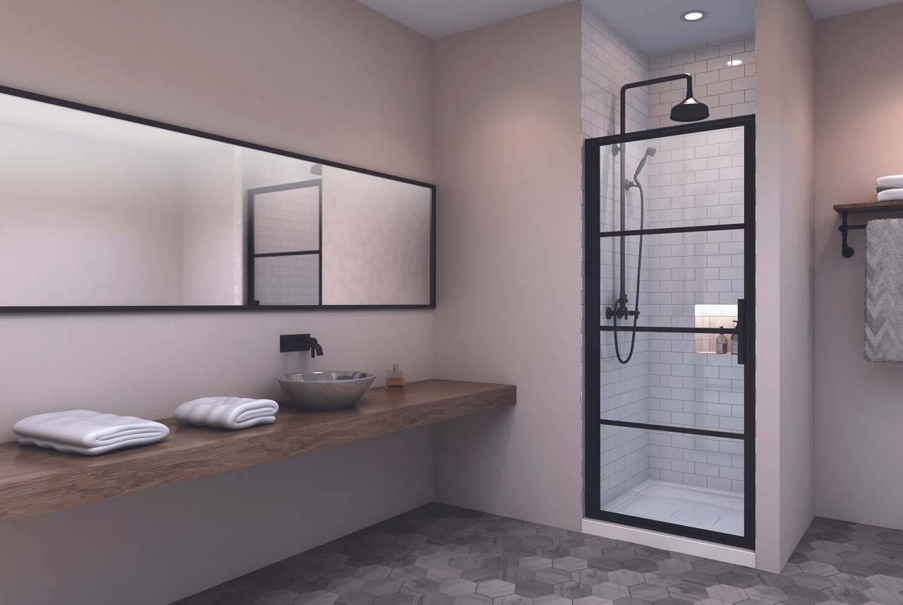 Zitta Materia Alcove 1 Shower Door Black 32