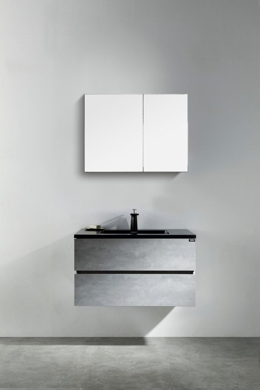 Modern Edison 30 Wall Mount Bathroom Vanity Grey With Black Top York Taps