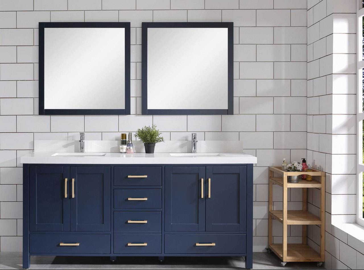 Armada 72 Double Sink Bathroom Vanity Blue York Taps