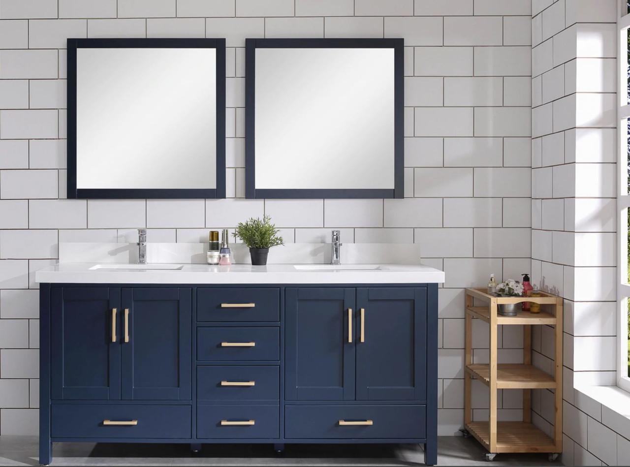 Armada 60 Blue Double Sink Bathroom Vanity York Taps