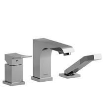 Riobel Zendo 3-Piece Type P (Pressure Balance) Deck-Mount Tub Filler Open Spout w/ Hand Shower