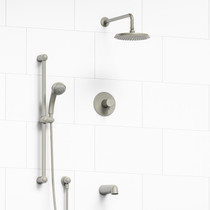 "Riobel Classic Type T/P 1/2"" Coaxial 3-Way System with Hand Shower Rail, Shower Head and Spout Brushed Nickel"
