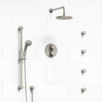 Riobel Classic Type T/P Double Coaxial System with Hand Shower Rail, 4 Body Jets and Shower Head Brushed Nickel