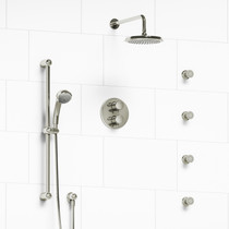 Riobel Classic Type T/P Double Coaxial System with Hand Shower Rail, 4 Body Jets and Shower Head Polished Nickel