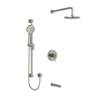 "Riobel CS Type T/P 1/2"" Coaxial 3-Way System with Hand Shower Rail, Shower Head and Spout Brushed Nickel"
