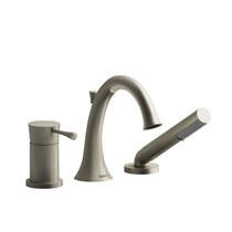 Riobel Edge 3-Piece Type P (Pressure Balance) Deck-Mount Tub Filler with Hand Shower Brushed Nickel