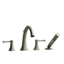 Riobel Edge 4-Piece Deck-Mount Tub Filler with Hand Shower Brushed Nickel