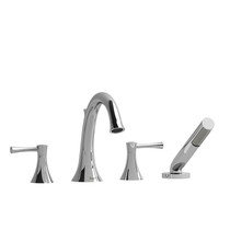 Riobel Edge 4-Piece Deck-Mount Tub Filler with Hand Shower Chrome