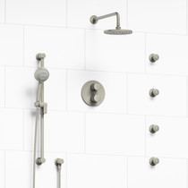 Riobel Edge Type T/P Double Coaxial System with Hand Shower Rail, 4 Body Jets and Shower Head Brushed Nickel