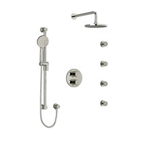 Riobel Edge Type T/P Double Coaxial System with Hand Shower Rail, 4 Body Jets and Shower Head Polished Nickel