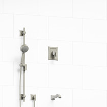 """Riobel Eiffel 1/2"""" 2-Way Type T/P (Thermostatic/Pressure Balance) Coaxial System with Spout and Hand Shower Rail Brushed Nickel"""