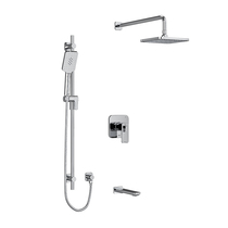"Riobel Equinox Type T/P 1/2"" Coaxial 3-Way System with Hand Shower Rail, Shower Head and Spout Chrome"
