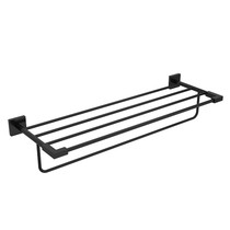 "Riobel KS 60 cm (24"") Towel Bar with Shelf Matte Black - KS9BK"