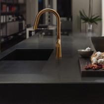Riobel Ludik Kitchen Faucet with Spray Brushed Gold