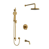 "Riobel Momenti Type T/P (Thermostatic/Pressure Balance) 1/2"" Coaxial 3-Way System with Hand Shower Rail, Shower Head and Spout Brushed Gold"