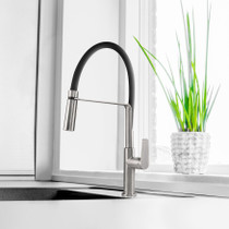 Riobel Mythic Kitchen Faucet with Spray Stainless Steel
