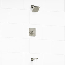 "Riobel Pallace Type T/P 1/2"" Coaxial 2-Way No Share with Square Shower Head and Tub Spout Polished Nickel"