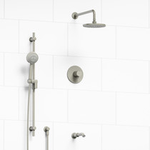 """Riobel Pallace Type T/P 1/2"""" Coaxial 3-Way System with Hand Shower Rail, Shower Head and Spout Brushed Nickel"""