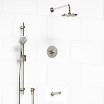 "Riobel Pallace Type T/P 1/2"" Coaxial 3-Way System with Hand Shower Rail, Shower Head and Spout Polished Nickel"