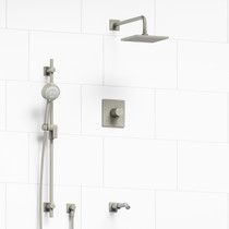 "Riobel Pallace Type T/P 1/2"" Coaxial 3-Way System with Hand Shower Rail, Square Shower Head and Spout Brushed Nickel"
