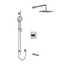 "Riobel Pallace Type T/P 1/2"" Coaxial 3-Way System with Hand Shower Rail, Square Shower Head and Spout Chrome"