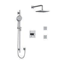 "Riobel Pallace Type T/P 1/2"" Coaxial 3-Way System, Hand Shower Rail, Elbow Supply, Square Shower Head and 2 Body Jets Chrome"