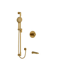 "Riobel Parabola 1/2"" 2-Way Type T/P (Thermostatic/Pressure Balance) Coaxial System with Spout and Hand Shower Rail Brushed Gold"