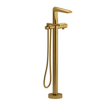 Riobel Parabola 2-Way Type T (Thermostatic) Coaxial Floor-Mount Tub Filler with Hand Shower Brushed Gold