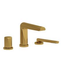 Riobel Parabola 3-Piece Deck-Mount Tub Filler with Hand Shower Brushed Gold
